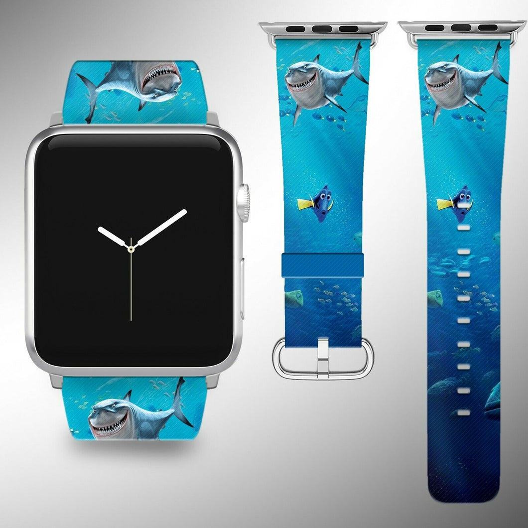 Finding Dory Apple Watch Band 38 40 42 44 mm Fabric Leather Strap 01