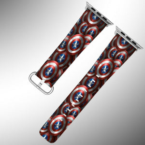 Captain America Apple Watch Band 38 40 42 44 mm Fabric Leather Strap 01