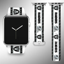 Load image into Gallery viewer, Oakland Raiders Apple Watch Band 38 40 42 44 mm Fabric Leather Strap 2