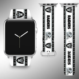 Oakland Raiders Apple Watch Band 38 40 42 44 mm Fabric Leather Strap 2