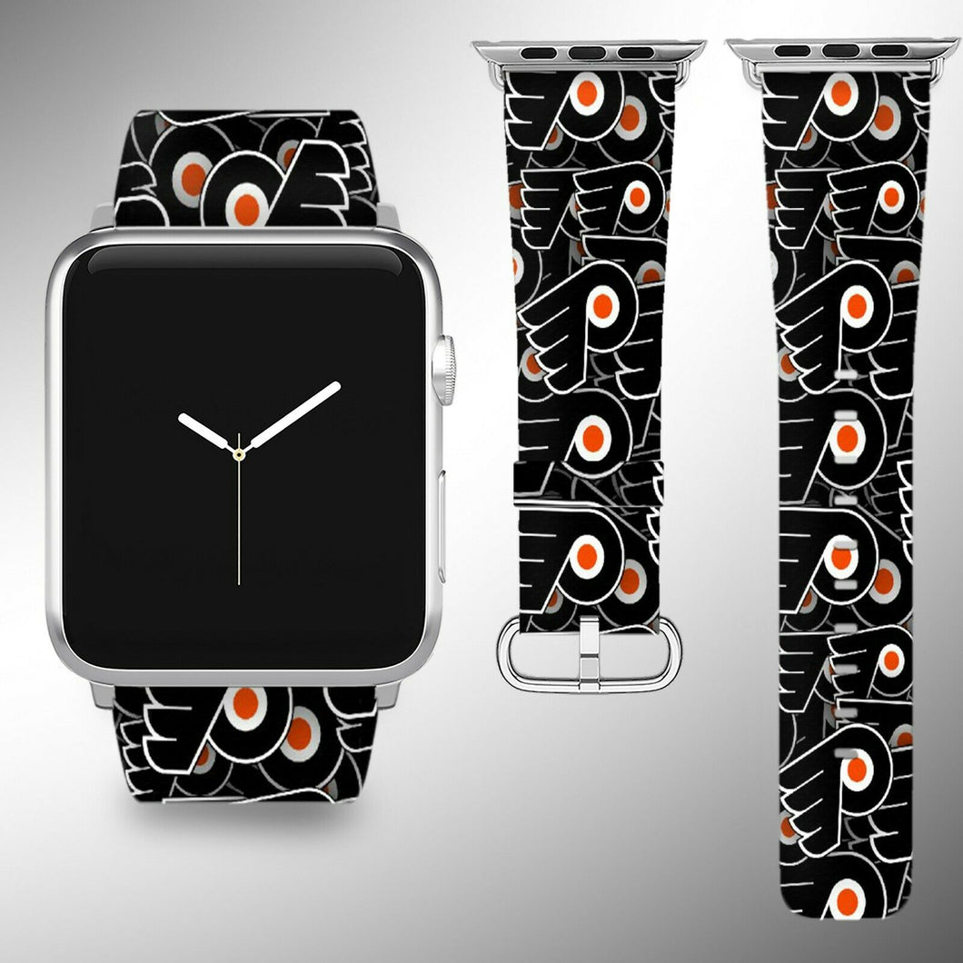 Philadelphia Flyers Apple Watch Band 38 40 42 44 mm Fabric Leather Strap 01