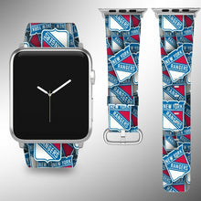 Load image into Gallery viewer, New York Rangers Apple Watch Band 38 40 42 44 mm Fabric Leather Strap 01