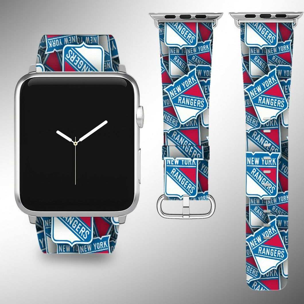 New York Rangers Apple Watch Band 38 40 42 44 mm Fabric Leather Strap 01