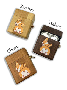 Dog Welsh Corgi wooden Case for AirPods 1 2 3 Pro real wood cover SN 178