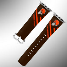 Load image into Gallery viewer, Cleveland Browns Apple Watch Band 38 40 42 44 mm Fabric Leather Strap 2
