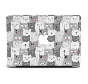 Cute Smiling Cats Painted MacBook case for Mac Air Pro M1 13 16 Cover Skin SN81
