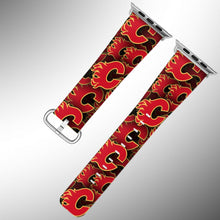 Load image into Gallery viewer, Calgary Flames Apple Watch Band 38 40 42 44 mm Fabric Leather Strap 01