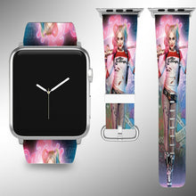 Load image into Gallery viewer, Harley Quinn Apple Watch Band 38 40 42 44 mm Fabric Leather Strap 01