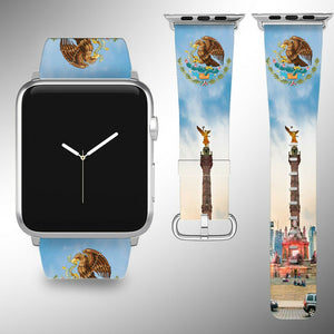 Mexico Coat of Arms Apple Watch Band 38 40 42 44 mm Fabric Leather Strap
