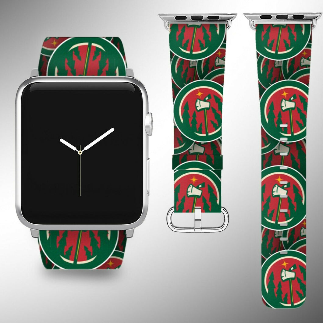 Minnesota Wild Apple Watch Band 38 40 42 44 mm Fabric Leather Strap 01