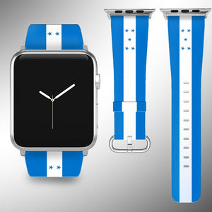 Honduras Flag Apple Watch Band 38 40 42 44 mm Series 1-5 Fabric Leather Strap 02