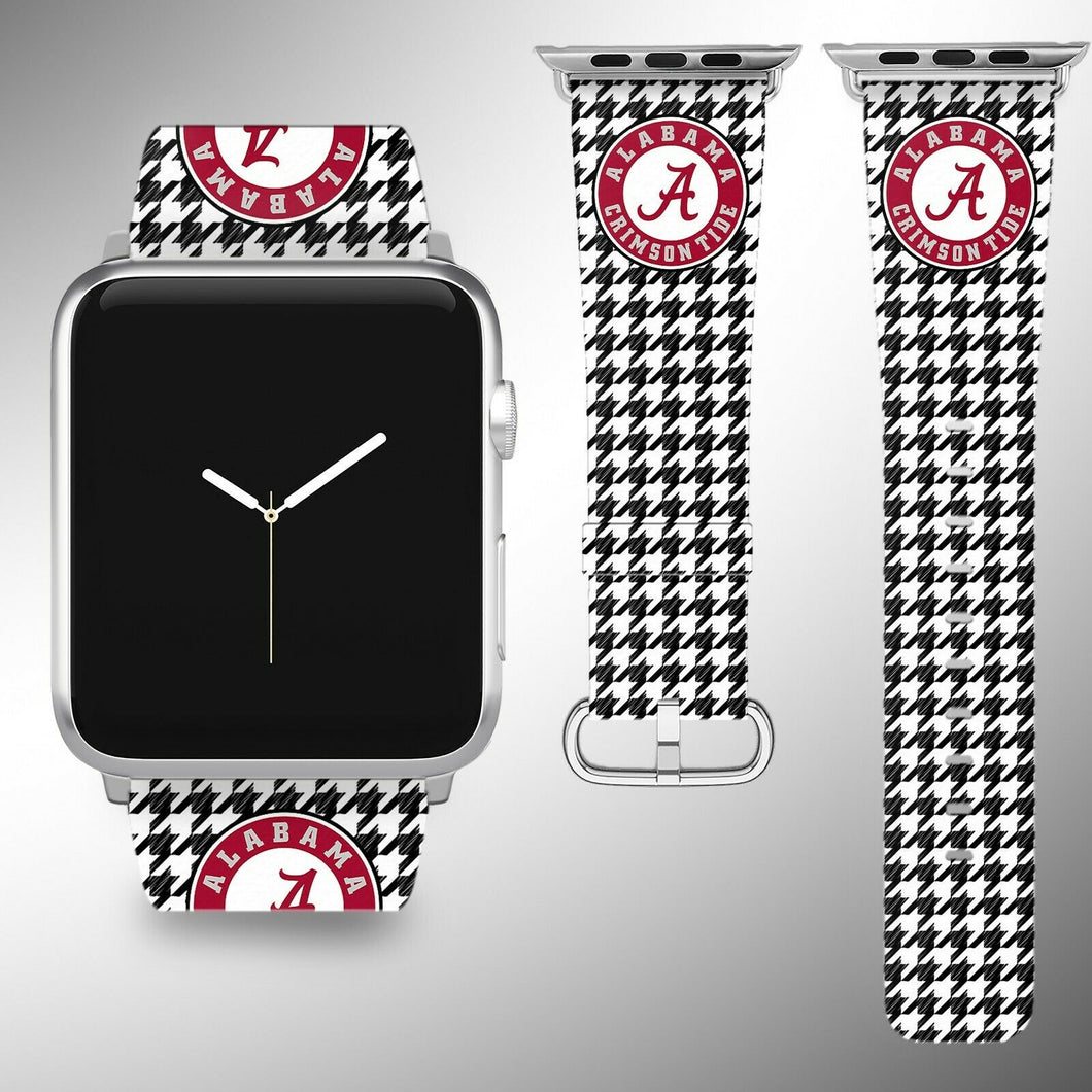 Alabama Crimson Tide Apple Watch Band 38 40 42 44 mm Fabric Leather Strap 4