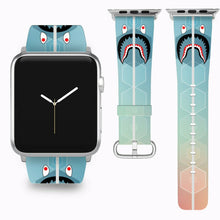 Load image into Gallery viewer, Bape Shark Apple Watch Band 38 40 42 44 mm Series 1 - 5 Fabric Leather Strap 5