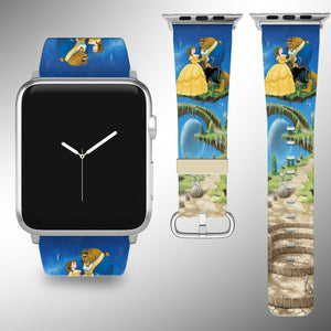 Beauty and the Beast Apple Watch Band 38 40 42 44 mm Fabric Leather Strap