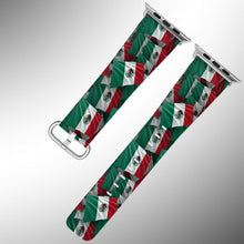 Load image into Gallery viewer, Mexico Flag Apple Watch Band 38 40 42 44 mm Series 1 - 5 Fabric Leather Strap