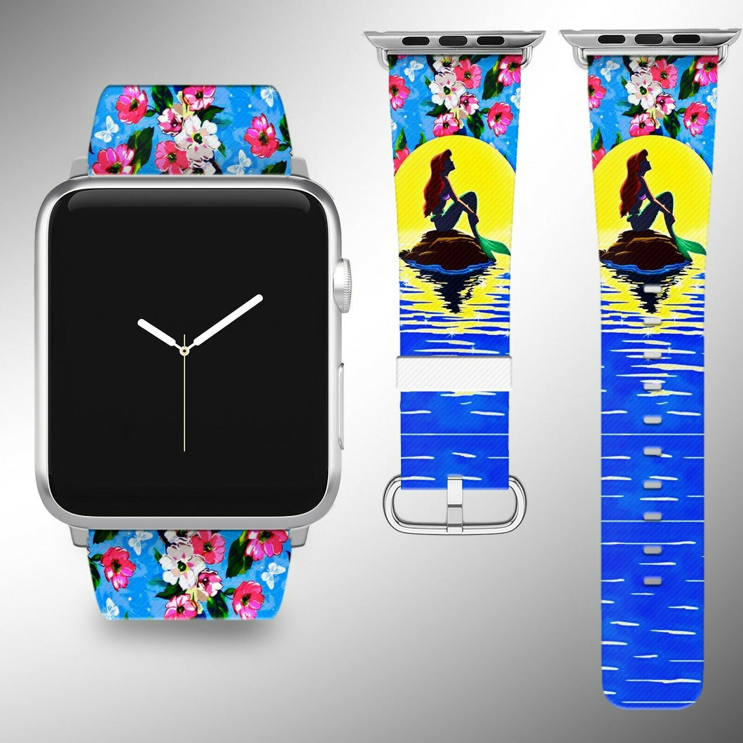 Little Mermaid Disney Apple Watch Band 38 40 42 44 mm Fabric Leather Strap 01