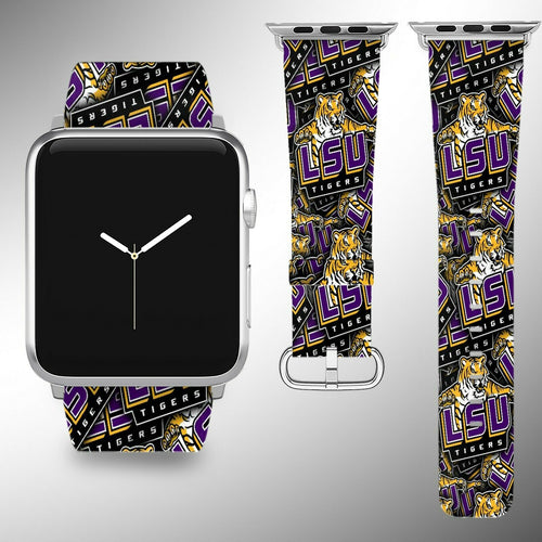 LSU Tigers Apple Watch Band 38 40 42 44 mm Fabric Leather Strap 2