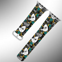 Load image into Gallery viewer, Anaheim Ducks Apple Watch Band 38 40 42 44 mm Fabric Leather Strap 01