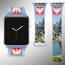 Load image into Gallery viewer, Poland Coat of Arms Apple Watch Band 38 40 42 44 mm Fabric Leather Strap