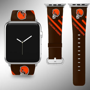 Cleveland Browns Apple Watch Band 38 40 42 44 mm Fabric Leather Strap 2