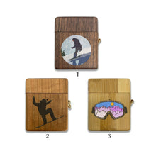 Load image into Gallery viewer, Extreme Sport Snowboard wooden Case for AirPods 1 2 3 Pro real wood cover SN 236