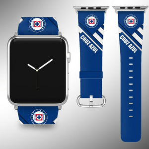 Cruz Azul Apple Watch Band 38 40 42 44 mm Series 1 2 3 4 Fabric Leather Strap 01
