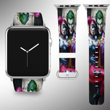 Load image into Gallery viewer, Harley Quinn Joker Apple Watch Band 38 40 42 44 mm Fabric Leather Strap 02