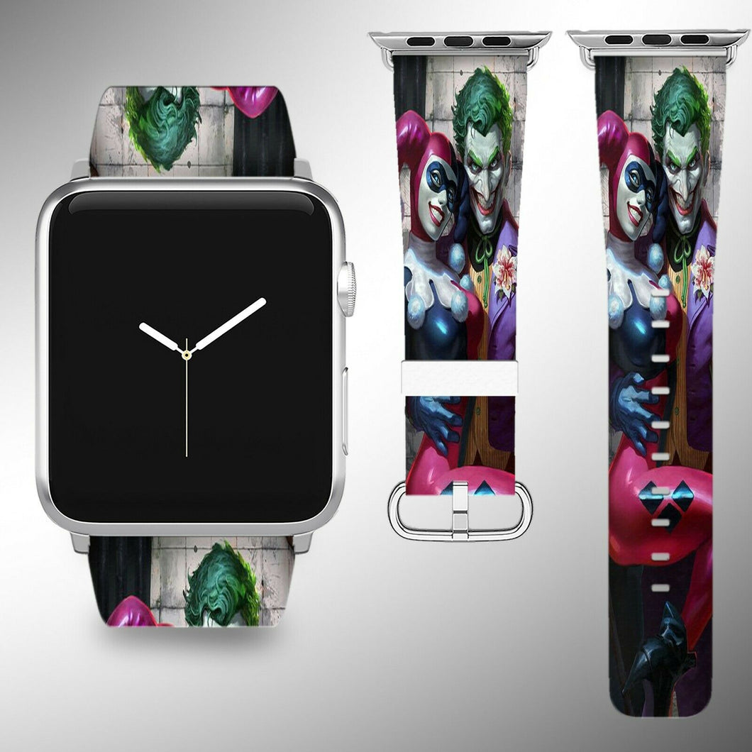 Harley Quinn Joker Apple Watch Band 38 40 42 44 mm Fabric Leather Strap 02