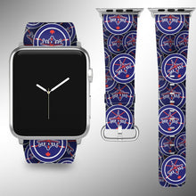 Load image into Gallery viewer, Winnipeg Jets Apple Watch Band 38 40 42 44 mm Fabric Leather Strap 01