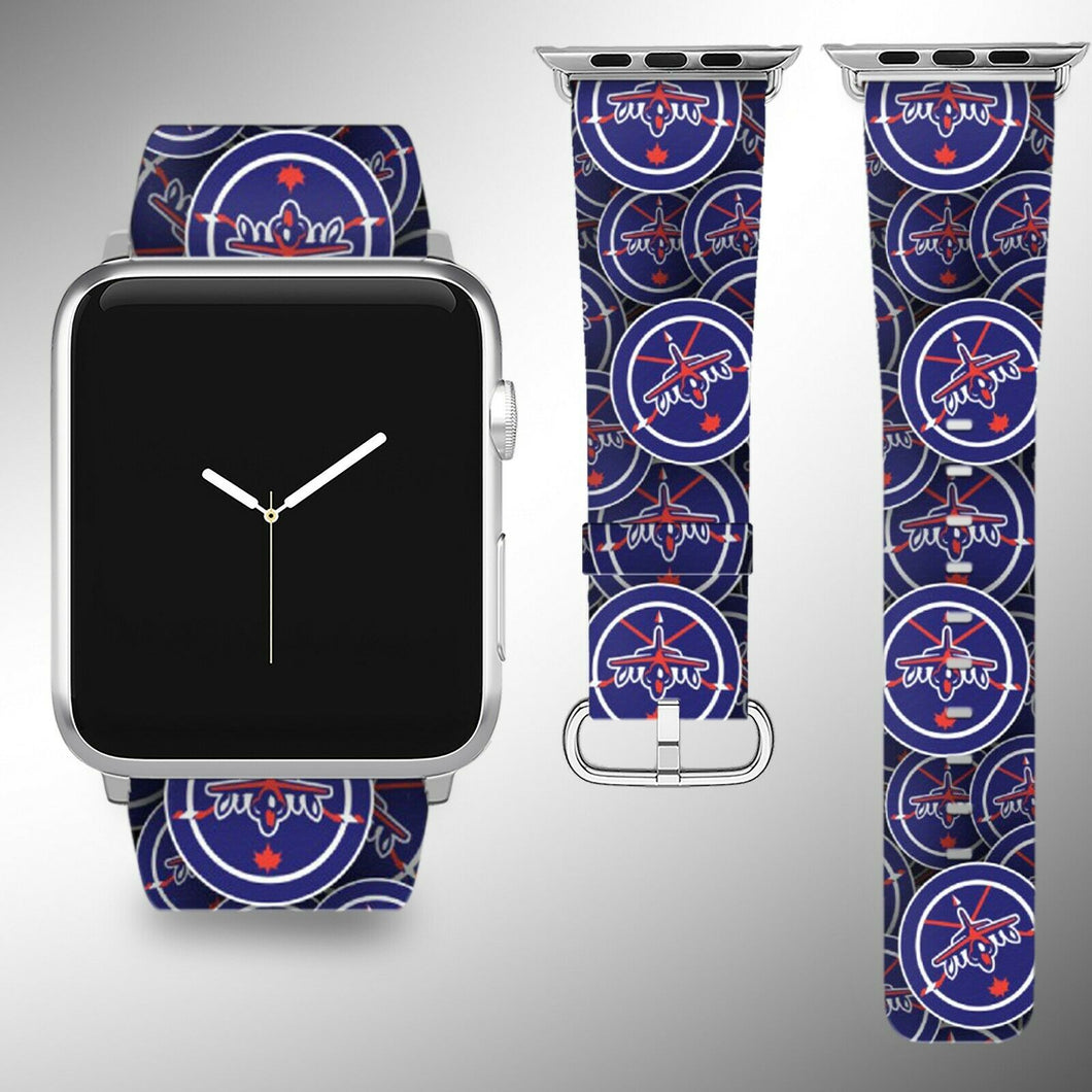 Winnipeg Jets Apple Watch Band 38 40 42 44 mm Fabric Leather Strap 01