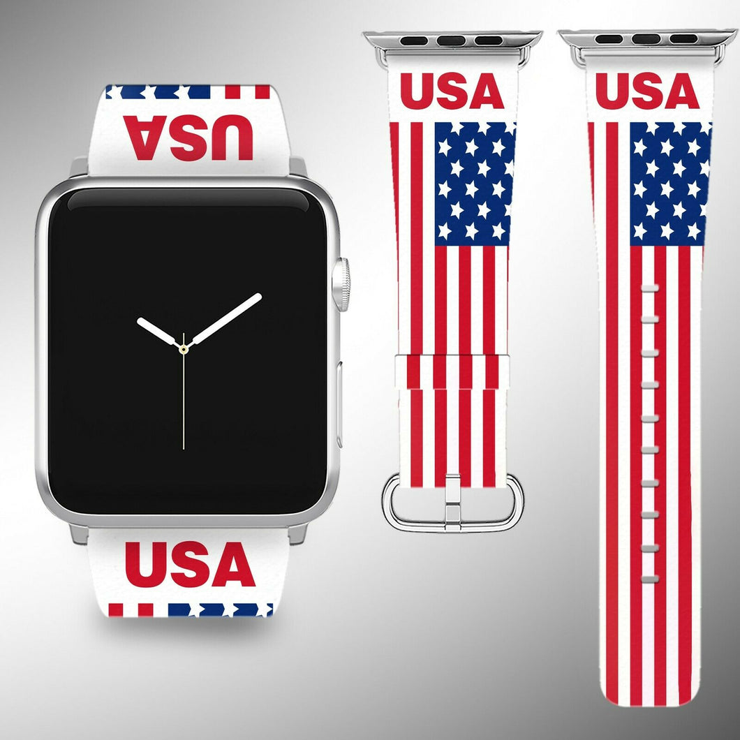 USA Flag Apple Watch Band 38 40 42 44 mm Series 5 1 2 3 4 Fabric Leather Strap 3