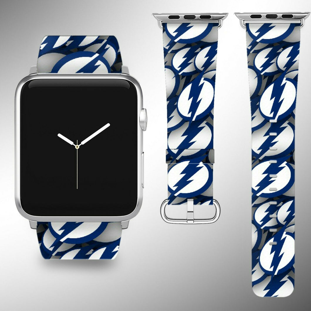 Tampa Bay Lightning Apple Watch Band 38 40 42 44 mm Fabric Leather Strap 01