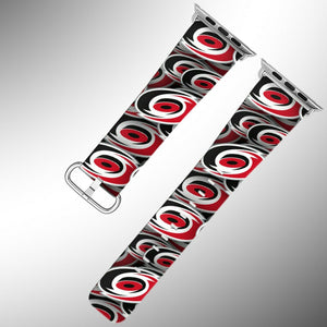 Carolina Hurricanes Apple Watch Band 38 40 42 44 mm Fabric Leather Strap 01