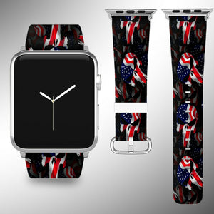 Punisher Apple Watch Band 38 40 42 44 mm Fabric Leather Strap 01
