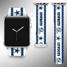 Load image into Gallery viewer, Dallas Cowboys Apple Watch Band 38 40 42 44 mm Fabric Leather Strap 2