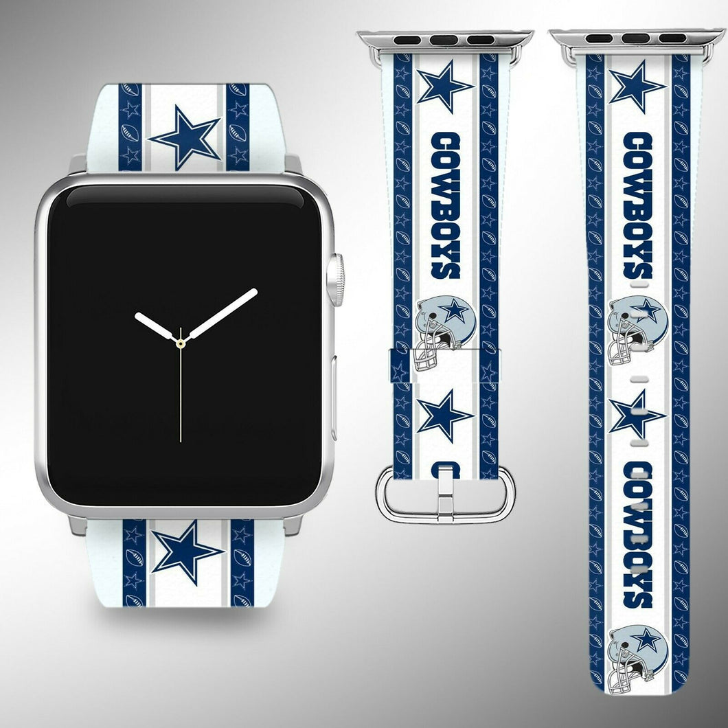 Dallas Cowboys Apple Watch Band 38 40 42 44 mm Fabric Leather Strap 2