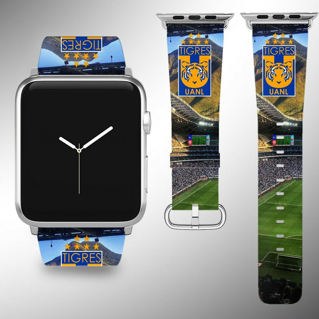 Tigres UANL Apple Watch Band 38 40 42 44 mm Series 1 - 4 Fabric Leather Strap 2
