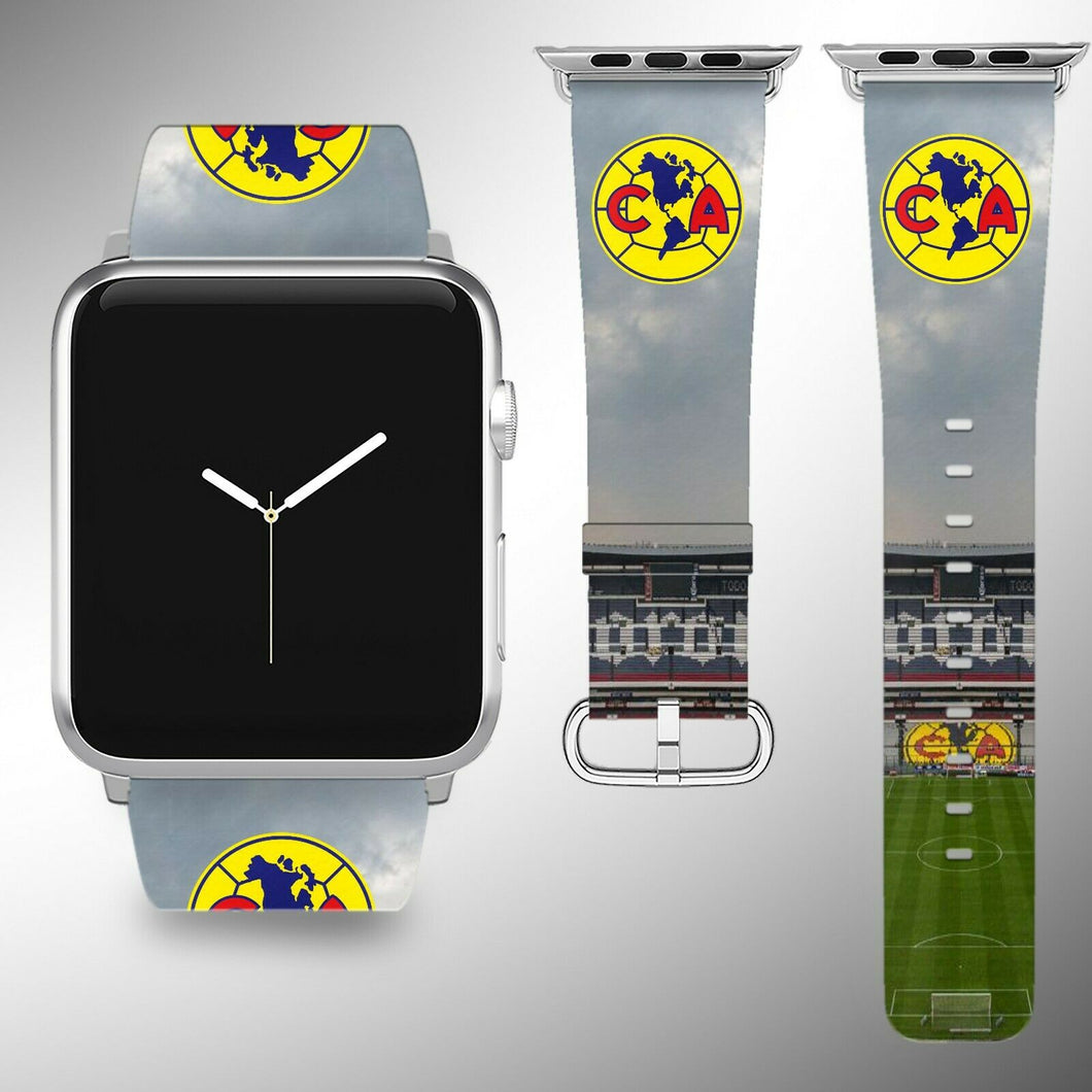 Club America Apple Watch Band 38 40 42 44 mm Series 1 - 4 Fabric Leather Strap 3