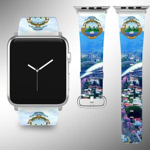 Costa Rica Coat of Arms Apple Watch Band 38 40 42 44 mm Fabric Leather Strap