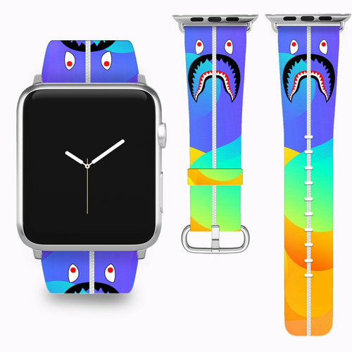 Bape Shark Apple Watch Band 38 40 42 44 mm Series 1 - 5 Fabric Leather Strap 4