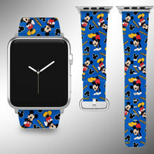 Load image into Gallery viewer, Mickey Mouse Apple Watch Band 38 40 42 44 mm Fabric Leather Strap 09