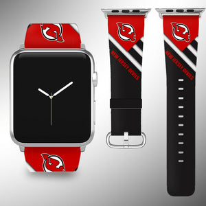 New Jersey Devils Apple Watch Band 38 40 42 44 mm Fabric Leather Strap 02
