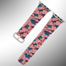 Load image into Gallery viewer, USA Flag Apple Watch Band 38 40 42 44 mm Series 5 1 2 3 4 Fabric Leather Strap 1