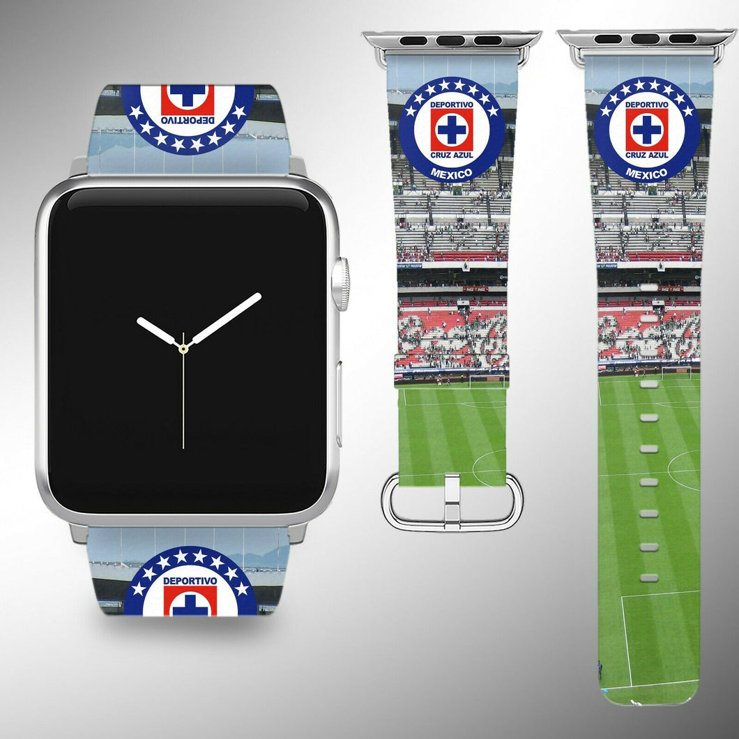 Cruz Azul Apple Watch Band 38 40 42 44 mm Series 1 2 3 4 Fabric Leather Strap 02