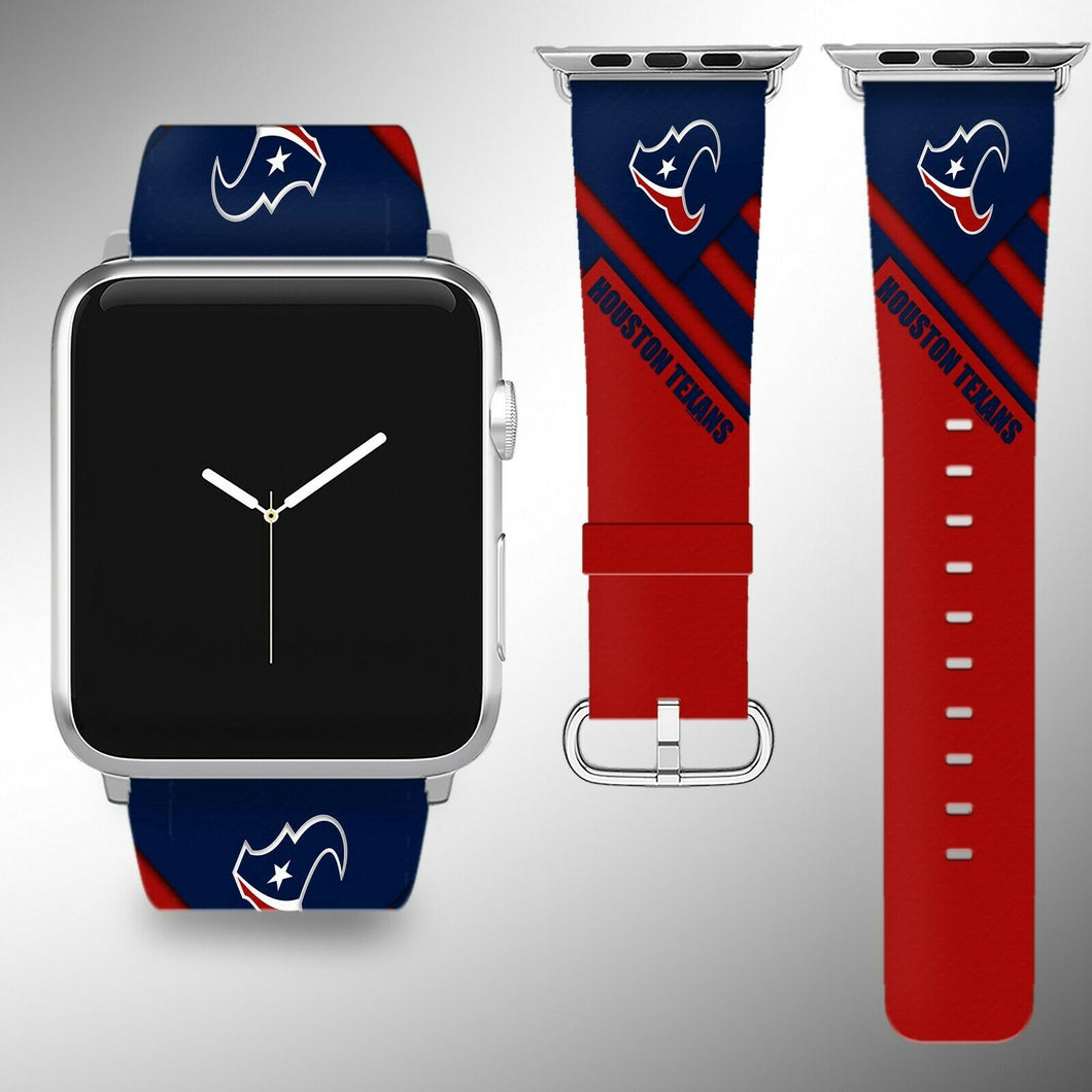 Houston Texans Apple Watch Band 38 40 42 44 mm Fabric Leather Strap 2
