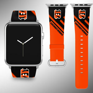 Cincinnati Bengals Apple Watch Band 38 40 42 44 mm Fabric Leather Strap 2