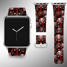 Load image into Gallery viewer, Deadpool Apple Watch Band 38 40 42 44 mm Series 1 - 5 Fabric Leather Strap 01