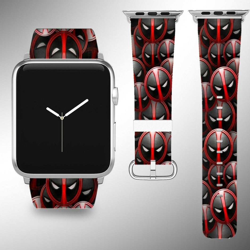 Deadpool Apple Watch Band 38 40 42 44 mm Series 1 - 5 Fabric Leather Strap 01