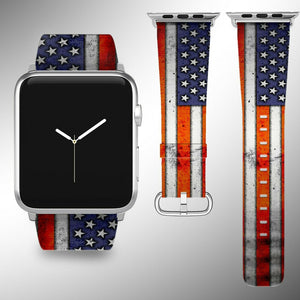 USA Flag Apple Watch Band 38 40 42 44 mm Series 5 1 2 3 4 Wrist Strap 02