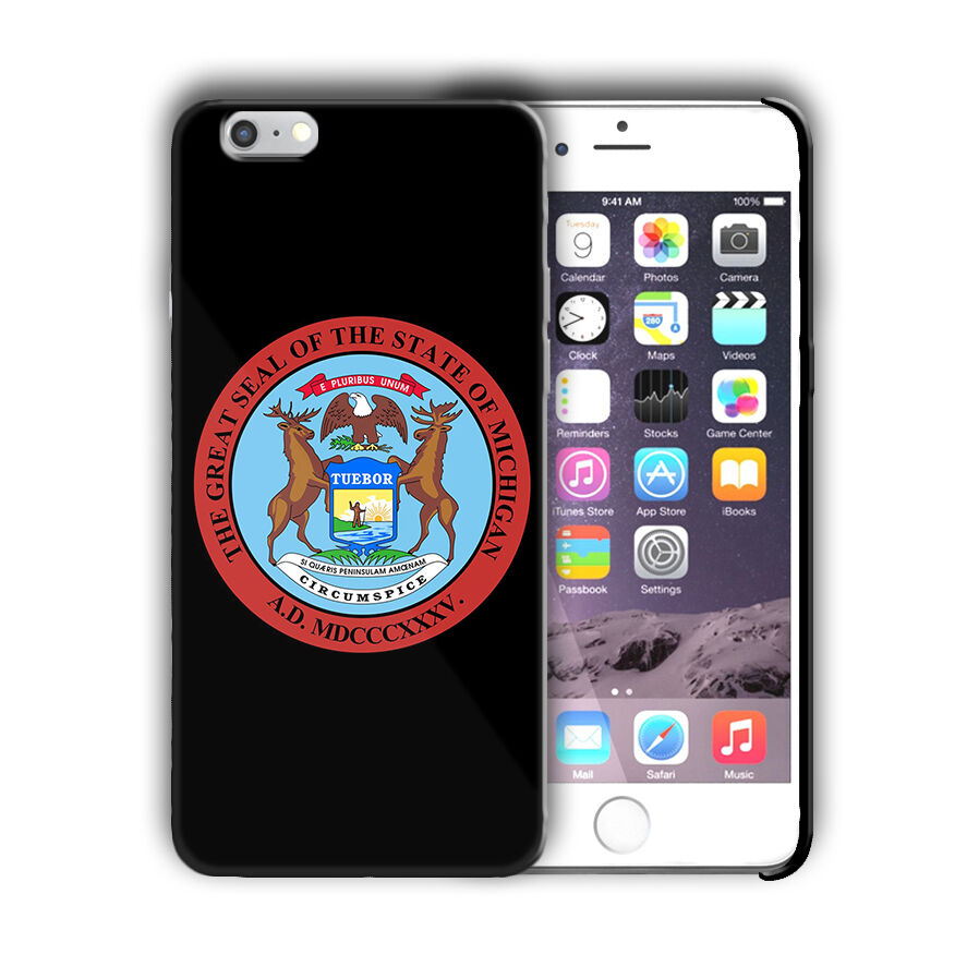 Michigan Great Seal Emblem Iphone 4 4s 5 5s 5c SE 6 6s 7 + Plus Case Cover 03